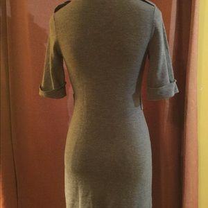 Grey Buttons Sweater Dress